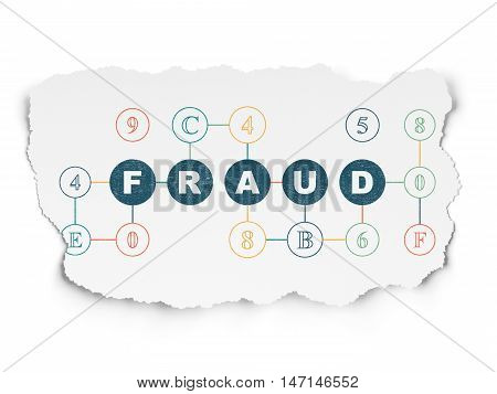 Protection concept: Painted blue text Fraud on Torn Paper background with Scheme Of Hexadecimal Code