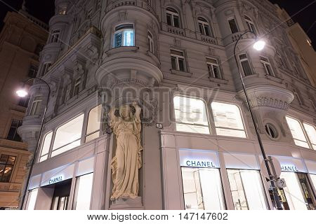 VIENNA, AUSTRIA - NOVEMBER 13, 2015: City centre view at night, with Chanel shops