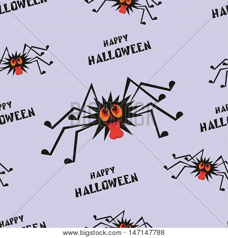 Halloween seamless pattern  with the image of the perky spider