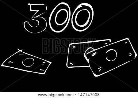 black and white vector sketch of money in paper notes