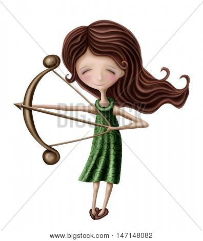 Sagittarius astrological sign girl isolated on a white background