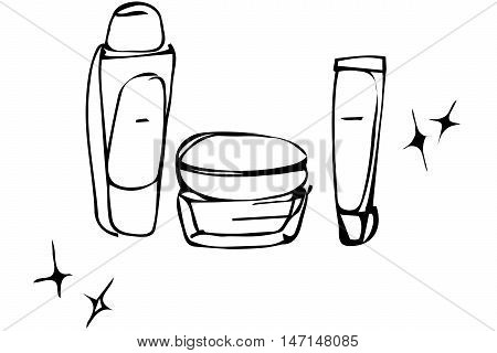 black and white vector sketch of cosmetic creams in tubes and bank