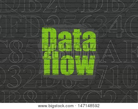 Data concept: Painted green text Data Flow on Black Brick wall background with  Hexadecimal Code