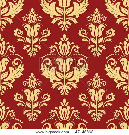 Seamless baroque vector red and golden pattern. Traditional classic orient ornament
