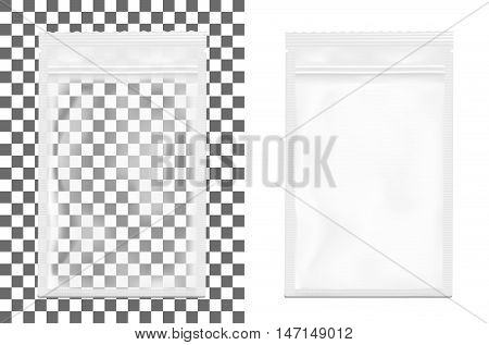 Transparent empty plastic packaging with zipper. Blank foil sachet for food or drink.