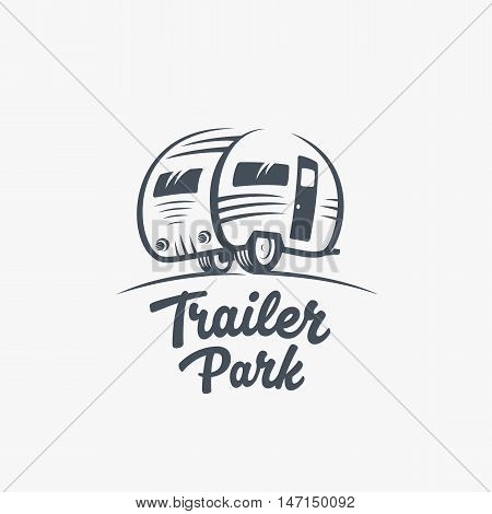 Trailer or Van Park Vector Logo Template. Silhouette Tourism Icon. Label with Retro Typography. Isolated.