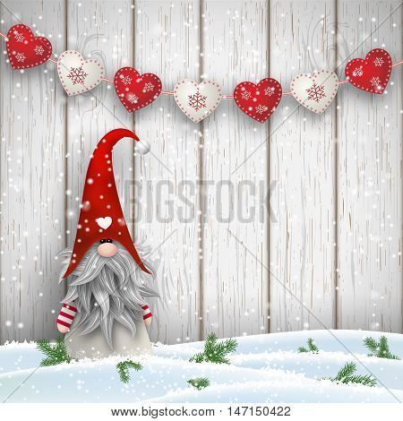 Tomte standing in front of gray wooden wall in snow, with red decorated hearts. Nisser in Norway and Denmark, Tomtar in Sweden or Tonttu in Finnish are scandinavian folklore elves, nordic christmas motive, vector illustration, eps 10 with transparency and