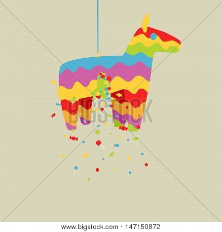 Cartoon colorful pinata horse toy vector illustration