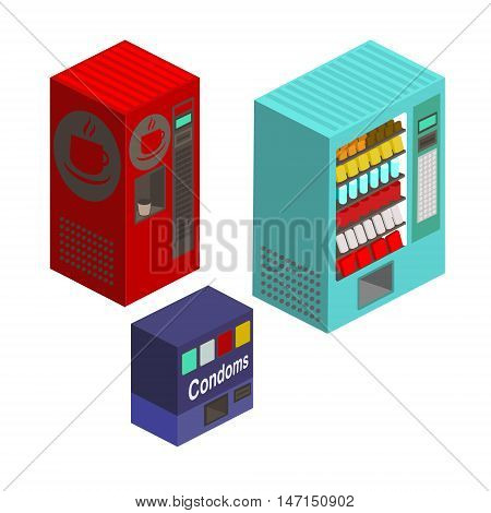 Vending machines set. Isometric style. Cartoon colorful vector illustration