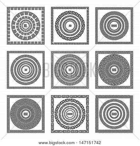 Greek Traditional Meander Border Set. Vector Antique Frame Pack. Decoration Element Patterns In Blac