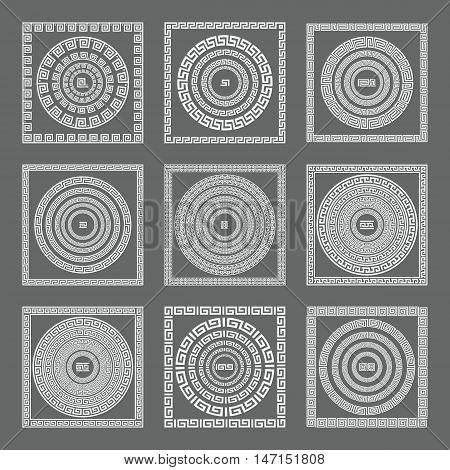 Greek Seamless Patterns, Textures, Vector Gray Background Isolated Objects. Greece Art