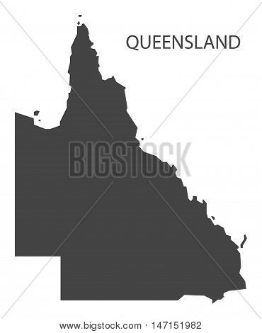 Queensland Australia Map in grey vector high res