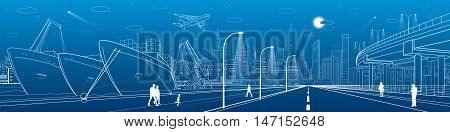 Industrial cargo port. City scene, people walking, neon town skyline, street life. ships on the water. Automotive flyover, infrastructure panorama, highway, white lines, vector design art