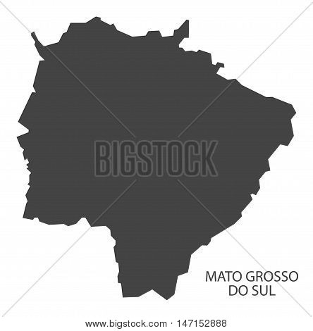 Mato Grosso do Sul map grey brazil vector high res