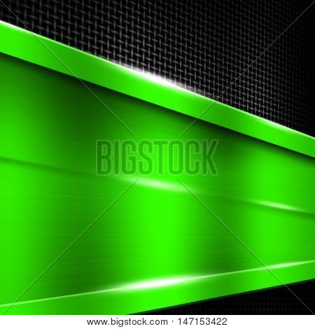 green metal frame on black metallic mesh. metal background. 3d illustration.
