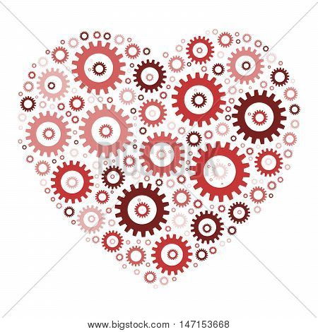 Heart shape mosaic of cog wheels. Looks like clockwork heart or love machine. Illustration in shades of red on white background.