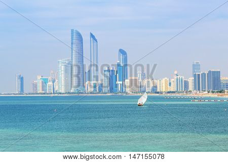 Cityscape of Abu Dhabi, the capital city of United Arab Emirates