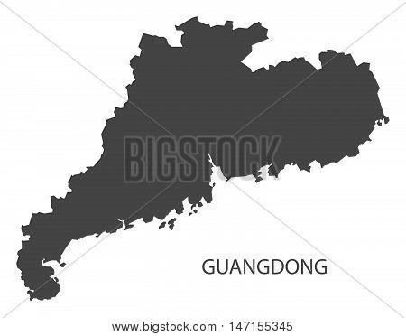 Guangdong China Map in grey vector high res