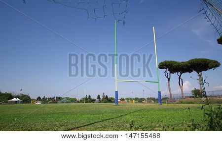 rugby field with rugby post sport concept