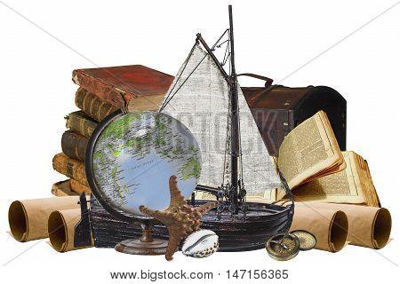 Travel sea treasure-Sailing nave, books sea animals on white background