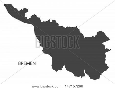 Bremen Germany Map grey vector high res