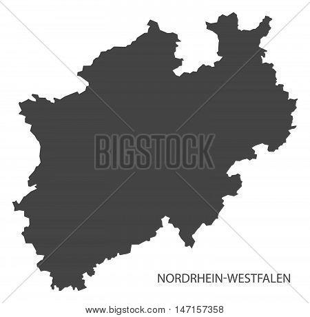 Nordrhein-Westfalen Germany Map grey vector high res