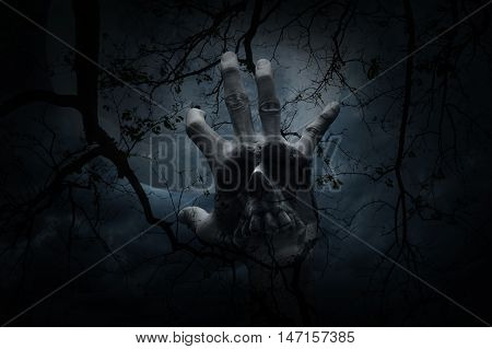 Double exposure of hand blend with human skull over dead tree moon and cloudy sky Mystery background Halloween concept