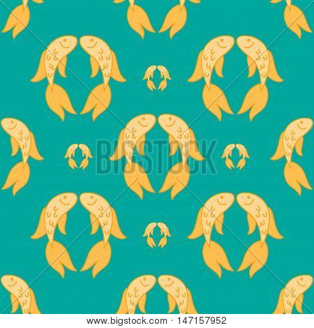 Gold fish exotic aquarium pet, sea background, summer water seamless pattern.