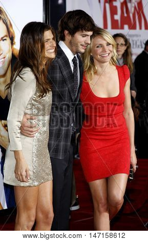 Lake Bell, Ashton Kutcher and Cameron Diaz at the World premiere of 'What Happens in Vegas' held at the Mann Village Theater in Westwood, USA on May 1, 2008.