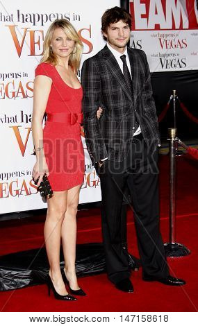 Ashton Kutcher and Cameron Diaz at the World premiere of 'What Happens in Vegas' held at the Mann Village Theater in Westwood, USA on May 1, 2008.