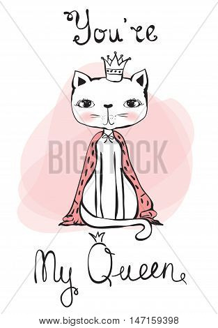 Vintage vector poster with stylish cat queen.