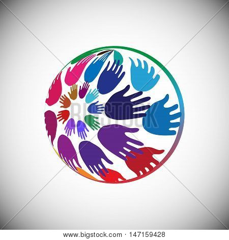 Hands arranged in Globe shape Concept of Volunteer support Charity Outreach and Unity vector illustration
