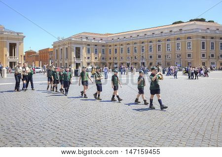 VATICAN EUROPE - May 03.2012: Detachment of young scouts goes is on Square Saint Peter on an excursion in a cathedral