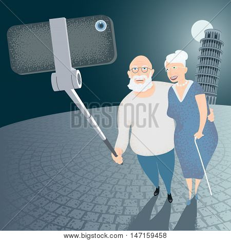Group of old people making selfie snapshot with cellphone and stick on Italian Pisa tower background vector illustration. Senior people elderly persons old people concept visual