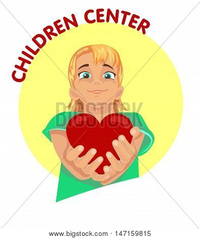 icon child with a heart in the hands for the children's center for design education care and development of children