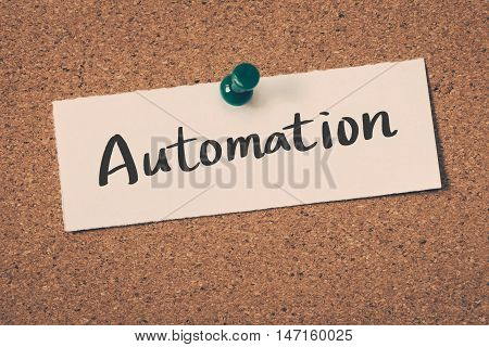 Automation note pin on the bulletin board