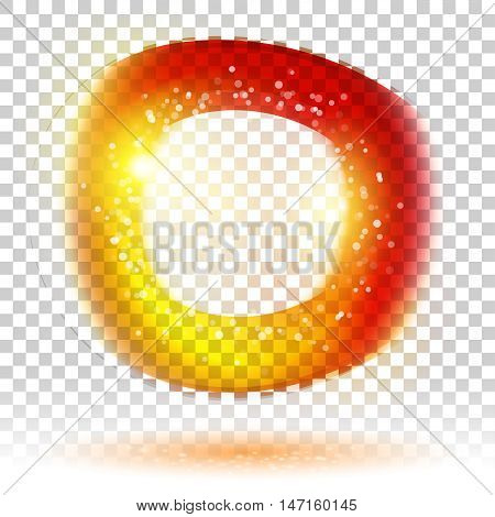 Multicolor abstract energy frame with special light effect with spark. Vector glow power. Electric discharge on transparent background. High voltage nuclear core