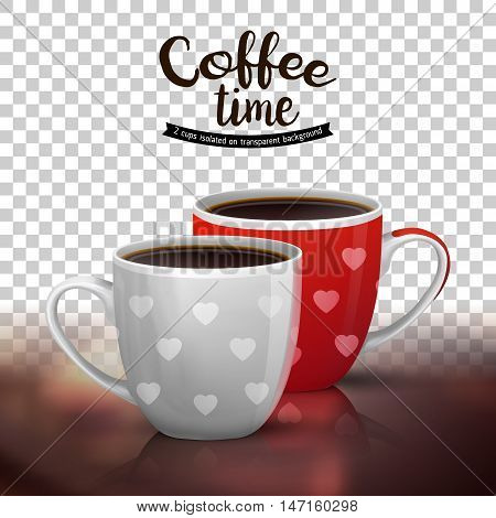 Classic americano in two ceramic cups isolated on transparent background. Vector illustration of coffee drinks. Coffee cups design with heart shapes.