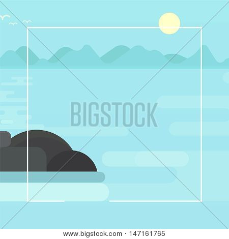 Square banner template early morning on a misty lake at sunrise seascape flat vector illustration