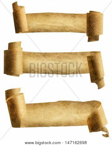 Old Paper Scroll Ribbon Parchment Roll Icon Curled Ancient Banners Set Isolated over White background with clipping path