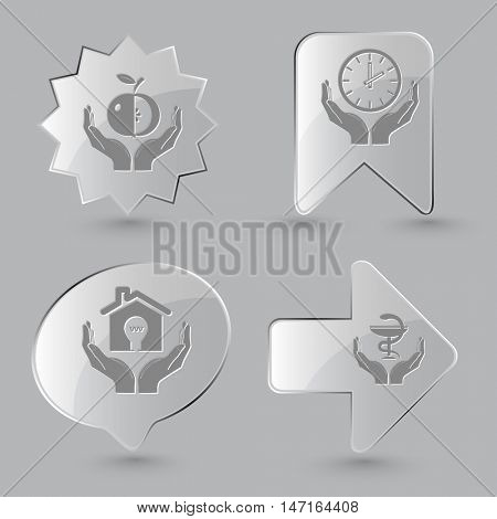 4 images: apple in hands, clock, economy, pharma symbol. In hands set. Glass buttons on gray background. Vector icons.