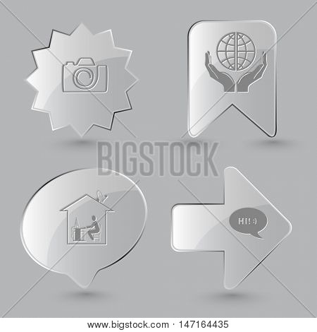 4 images: camera, protection world, home work, chat symbol. Education set. Glass buttons on gray background. Vector icons.