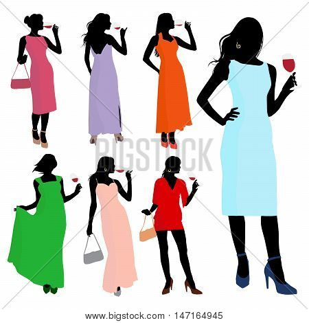 Vector silhouette young elegant women dressed in evening dress holding wine glasses with a red wine in hand. Sexy girls with a glass in different poses.