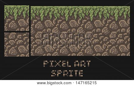 Vector pixel art texture of stone dirt land with grass platformer sprite isolated on black background