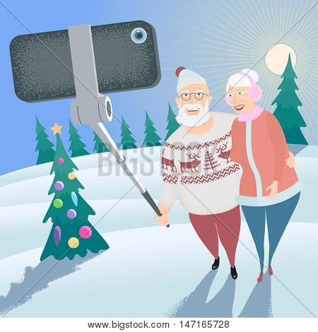 Old people making selfie with phone and stick on winter forest background vector illustration. Senior people elderly pensioners old people concept visual