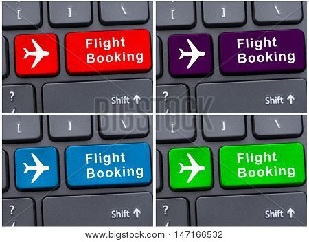 Button With Flight Booking On Laptop Keyboard