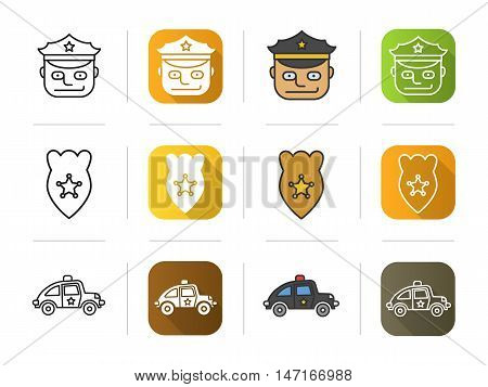 Police icons set. Flat design, linear and color styles. Officer, badge, police car symbol. Isolated vector illustrations