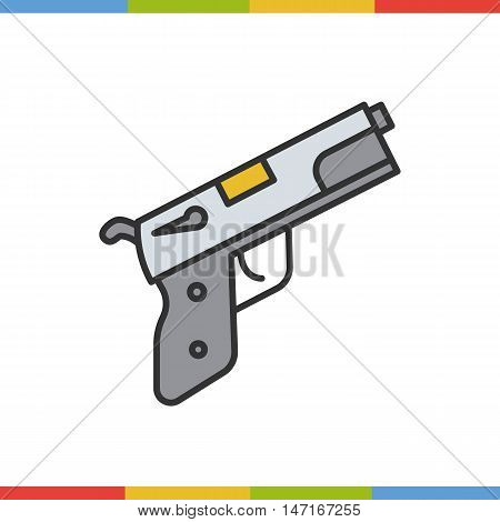 Pistol color icon. Gun in grey and yellow. Isolated vector illustration
