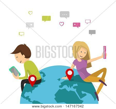 Online dating service. Virtual Chat, Like, Selfie concept. Boy and girl send messages of smartphone. Young couple man and woman on the planet Earth. Flat design, Vector illustration isolated on white.