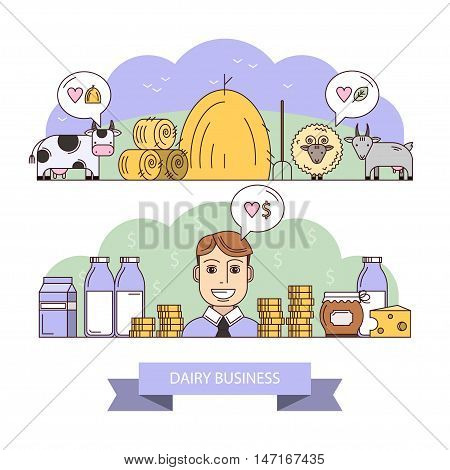 Vector illustration on the theme of dairy business. Elements of infographics. Production of natural dairy products that are useful for human health. Businessman and his profit, honest business.